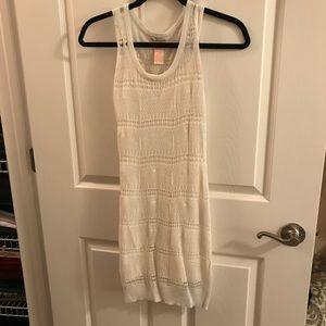 EUC cream crochet overlay dress